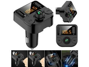 LCD Wireless Bluetooth FM Radio Adapter Music Player FM Transmitter Car Bluetooth Player Car Kit with Hands-Free Calling and 2 USB Ports Charger
