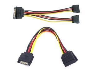 SATA 15-Pin Power Adapter Cable, SATA Power Y-Splitter Extension Cable SATA to SATA Connector (20CM/8inch)