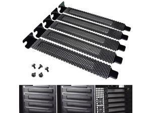 5pcs/lot Black Mesh Hard Steel PCI Slot Covers Bracket w/ Screws, Dust Filter Dustproof Blanking Plate for PCI