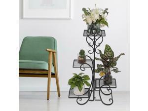 4 Tier Metal Flower Pot Plant Display Stand Shelf Holder Garden Yard Decor