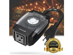 24 Hour Outdoor Mechanical Outlet Timer Weatherproof Automc Switch Light