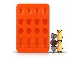 Silicone Heart Circle Shell Bear Molding Tray - Orange