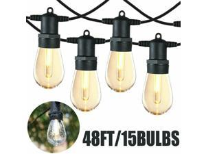 48FT LED Outdoor Waterproof 15 Bulbs Commercial Grade Po Globe String Lights