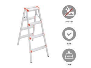 4 Step Aluminum Lightweight Ladder Folding Non-Slip Platform Stool 330Lbs Load