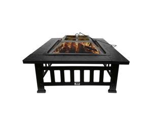 """32"""" Fire Pit BBQ Square Table Backyard Po Garden Stove Wood Burning Fireplace"""