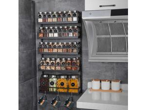 Wall Mount Spice Rack Organizer 5 Tier Height-Adjustable Hanging Spice Shelves