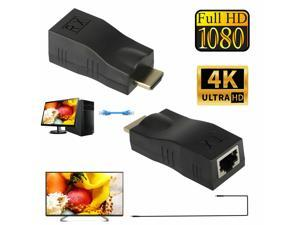 2Pcs 4K 1080P HDMI Extender to RJ45 Over Cat 5e/6 Network LAN Ethernet Adapter