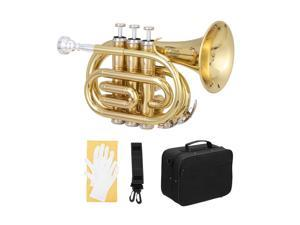 New   Bb Brass Mini Pocket Trumpet w/ Moutiece Case for Beginner Student