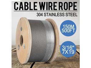 """T304 Stainless Steel Cable 3/16"""" 7x19 Wire Rope Cable Railing Decking 500FT"""