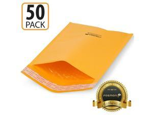 Fosmon 50 #0 6.5x10 Kraft Bubble Mailer Padded Envelope Fit CD DVD Extra Wide