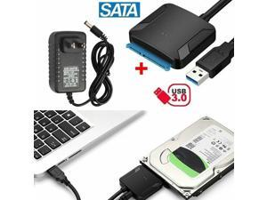 """USB 3.0 to SATA III Adapter for 2.5"""" 3.5"""" SDD HDD Hard Drives with 12V/2A Power"""