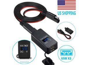 Motorcycle SAE to USB Cable Adapter Dual USB GPS Cellphones Charger  Voltmeter
