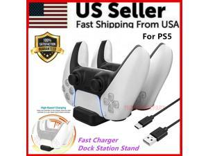 Fast Charger For PS5 DualSense Controller Dual Charging Dock Ston Stand Black