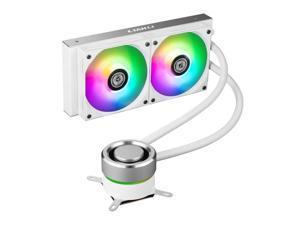LIAN LI GALAHAD AIO 240 RGB WHITE, Dual 120mm Addressable RGB Fans Radiator Dim. 273 x 123.5 x 27 mm Fan Dim. 120 x 120 x 25 mm AIO CPU Liquid Cooler