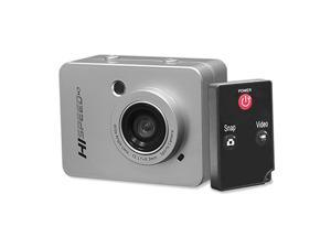 """Hi Speed Sports Action Camera - HD 1080P Mini Camcorder w/ 12 MP Cam, 2.4"""" Touch Screen USB SD Card HDMI, Battery - Waterproof Case, USB Cable, Wireless Remote Control, Mount - PSCHD60SL (Silver)"""