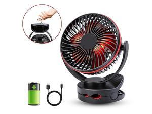 4 Speeds Desk Clip Fan with 2 Adjustable Lights and 5000mAh Rechargeable Battery Operated Fan Portable USB Fan for Baby Stroller CribCamping BBQ Outdoor Indoor ActivityRed