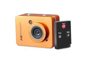 """Hi Speed Sports Action Camera - HD 1080P Mini Camcorder w/ 12 MP Cam, 2.4"""" Touch Screen USB SD Card HDMI, Battery - Waterproof Case, USB Cable, Wireless Remote Control, Mount -  PSCHD60OR (Orange)"""