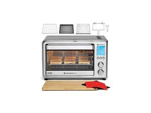 Toaster Oven All-In-One 9-slice XL Countertop Set w/ Bamboo Cutting Board (Incl: Rotisserie Spit & Rods, 2 Potholders, Wire Rack, Baking Pan), Teflon-free (Silver)