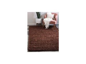 Solo Solid Shag Collection Modern Plush Chocolate Brown Area Rug (5' 0 x 8' 0)