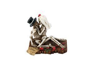 Love Never Dies Passionate Wedding Skeleton Couple Figurine, Resin Desk and Shelf Decoration