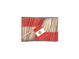 Box of 100 Country Toothpick Flags, 100 Small Mini International Flag Cupcake Toothpicks or Cocktail Picks (Peru)