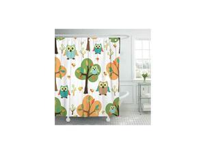 """72""""x72"""" Shower Curtain Waterproof Home Decor Animal Cute Owl in The Forest Design Pattern Baby Bird Birds Branch Cartoon Color Picture Print Polyester Fabric Adjustable Hook"""