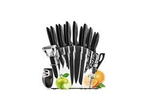 17 Pieces Kitchen Knives Set, 13 Stainless Steel Knives + Acrylic Stand, Scissors, Peeler and Knife Sharpener