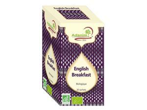 Organic English Breakfast Tea, Rich Assam Black Tea with Caffeine from India & Ceylon, 20Count, Pack of 4, 80 Individually Enveloped Hot Tea Bags in Total