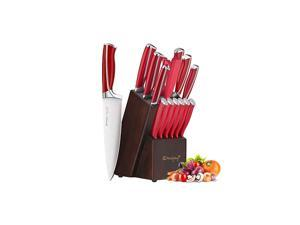 Knife Set, 15-Piece Kitchen Knife Set with Block Wooden, Red Handle for Chef Knife Set, Kitchen Knives Sharpener and Scissors German Stainless Steel