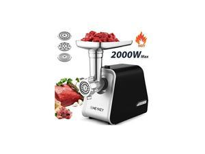 Meat Grinder 2000W, Meat Mincer with 3 Grinding Plates and Sausage Stuffing Tubes for Home Use &Commercial, Stainless Steel/Silver/2000W (Max)