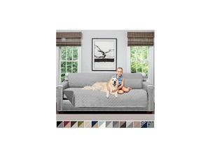Original Patent Pending X-Large Oversized Slipcover, Many Colors, Seat Width to 78 Inch, Reversible Furniture Protector with Straps, Couch Slip Cover Throw for Pet, Lt Gray Charcoal