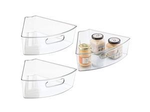 Kitchen Cabinet Plastic Lazy Susan Storage Organizer Bins with Front Handle - Large Pie-Shaped 1/6 Wedge - Food Safe, BPA Free - 3 Pack - Clear