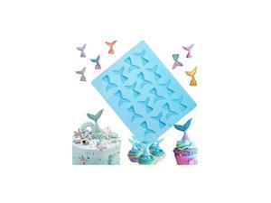 16 Cavity Mermaid Tail Silicone Mold for Fondant, Cake Decoration, Chocolate, Soap, Candy, Jello, Cupcake Topper, Gumpaste, Clay, Ice,