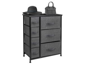 Dresser with Drawers - Furniture Storage Tower Unit for Bedroom, Hallway, Closet, Office Organization - Steel Frame, Wood Top, Easy Pull Fabric Bins (Black/Charcoal)