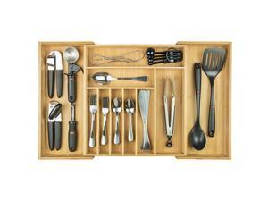 Premium Silverware, Flatware and Utensil Organizer for Kitchen Drawers, Expandable to 28 Inches Wide, 10 Compartments, 100% Bamboo