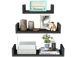 Floating Shelves Wall Mounted, Solid Wood Wall Shelves, Black