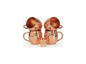 Set of 4  Handcrafted 100% Pure & Solid Copper Moscow Mule Mugs Hammered Finish Food Safe 16 Fl Oz Free One Shot Glass