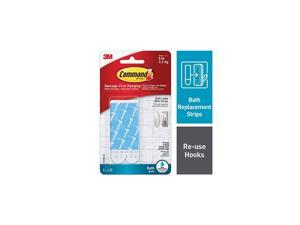 Bath Large Water-Resistant Adhesive Refill Strips, 4-Large Strips, Re-Hang Large Bath Hooks or Caddies