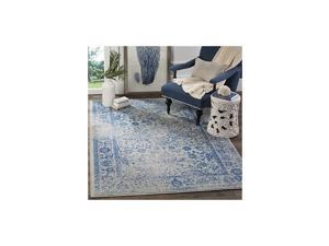 Adirondack Collection ADR109A Oriental Distressed Non-Shedding Stain Resistant Living Room Bedroom Area Rug, 4' x 6', Grey / Blue