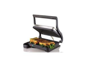 Electric Indoor Panini Press Grill with Non-Stick Double Flat Cooking Plate & Removable Drip Tray, Countertop Sandwich Maker Toaster Easy Storage & Clean Perfect for Breakfast, Silver GP0620BR