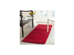 Milan Shag Collection SG180 Solid Non-Shedding Living Room Bedroom Dining Room Entryway Plush 2-inch Thick Runner, 2' x 8' , Red
