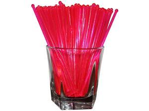 6 Inch Round Top Swizzle Sticks, Set of 48, Fluorescent Day-Glow Pink - Made In USA