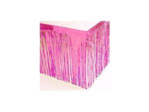 29x108-Inch Metallic Fringe Table Skirt Banner Pink