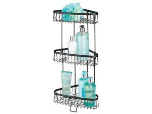 Metal 3-Tier Bathroom Corner Shower Shelf - Free Standing Vertical Unit Storage Shelves - for Organizing Soaps, Shampoos, Conditioner, Fash Face, Body Scrubs, Body Washes - Matte Black