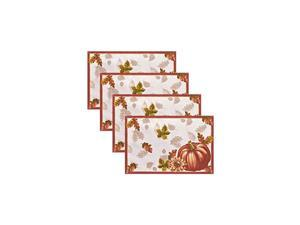 """Home Fashions Swaying Leaves Bordered Fabric Placemats for Fall/Thanksgiving/Harvest, 13""""x19"""", Multi, 4 Count"""