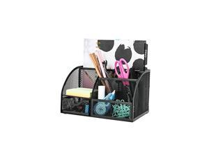 Mesh Desk Organizer Office with 7 Compartments + Drawer /Desk Tidy Candy /Pen Holder/Multifunctional Organizer EX348 Black