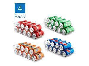 of 4 Refrigerator Organizer Bins Pop Soda Can Dispenser Beverage Holder for Fridge, Freezer, Kitchen, Countertops, Cabinets - Clear Plastic Canned Food Pantry Storage Rack