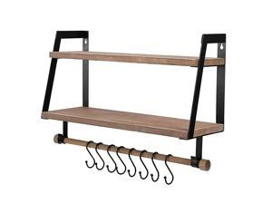 2-Tier Floating Shelves Wall Mount for Kitchen Spice Rack with 8 Hooks Storage, Rustic Farmhouse Wood Wall Shelf for Bathroom Décor with Towel Bar.