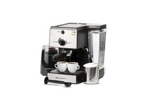 Pc All-In-One Espresso Machine & Cappuccino Maker Barista Bundle Set w/ Built-In Steamer & Frother (Inc: Coffee Bean Grinder, Portafilter, Milk Frothing Cup, Spoon/Tamper & 2 Cups), Stainless Steel