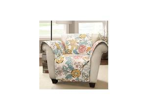 Sydney Furniture Protector-Floral Leaf Garden Pattern Armchair Cover-Blue and Yellow, Chair, Blue & Yellow
